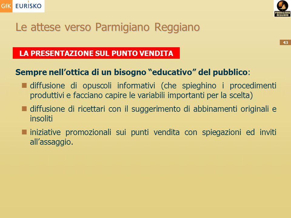 43 Le attese verso Parmigiano Reggiano Sempre nellottica di un bisogno educativo del pubblico: diffusione di opuscoli informativi (che spieghino i pro