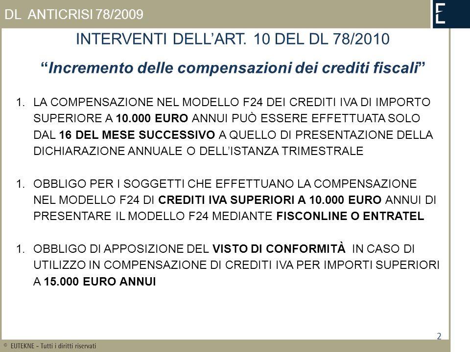 2 DL ANTICRISI 78/2009 INTERVENTI DELLART. 10 DEL DL 78/2010 Incremento delle compensazioni dei crediti fiscali 1.LA COMPENSAZIONE NEL MODELLO F24 DEI