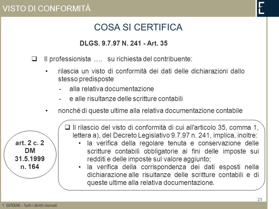VISTO DI CONFORMITÀ 23 COSA SI CERTIFICA DLGS. 9.7.97 N. 241 - Art. 35 Il professionista …. su richiesta del contribuente: rilascia un visto di confor