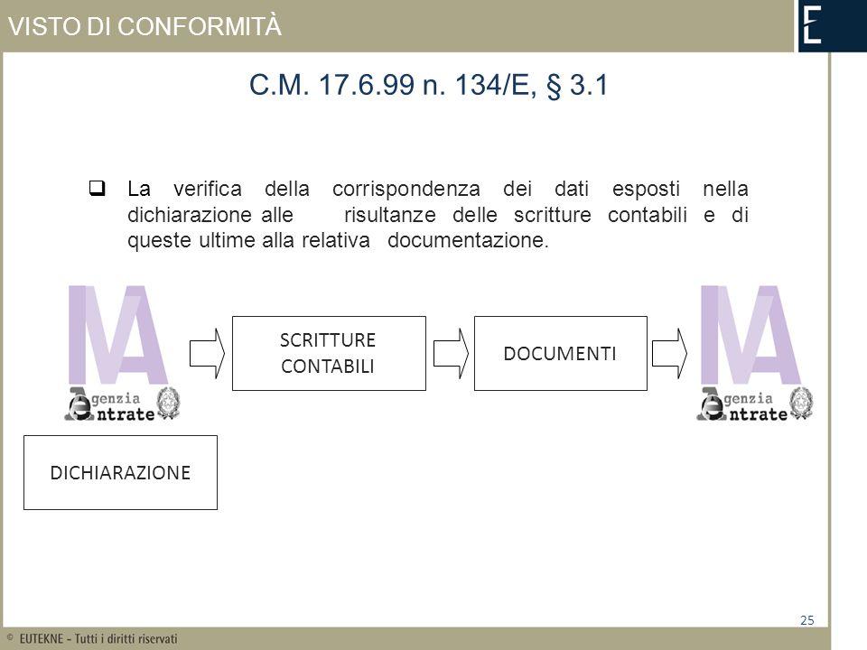 VISTO DI CONFORMITÀ 25 C.M. 17.6.99 n. 134/E, § 3.1 La verifica della corrispondenza dei dati esposti nella dichiarazione alle risultanze delle scritt