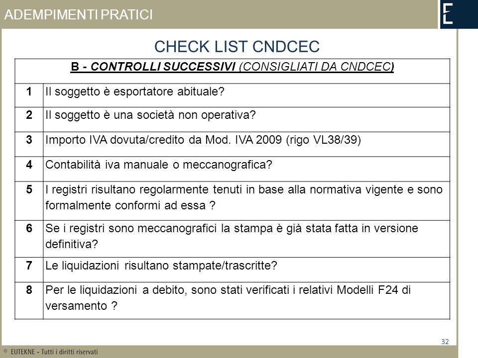 ADEMPIMENTI PRATICI 32 CHECK LIST CNDCEC B - CONTROLLI SUCCESSIVI (CONSIGLIATI DA CNDCEC) 1Il soggetto è esportatore abituale? 2Il soggetto è una soci