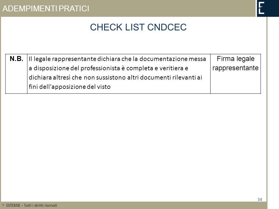 ADEMPIMENTI PRATICI 34 CHECK LIST CNDCEC N.B. Il legale rappresentante dichiara che la documentazione messa a disposizione del professionista è comple
