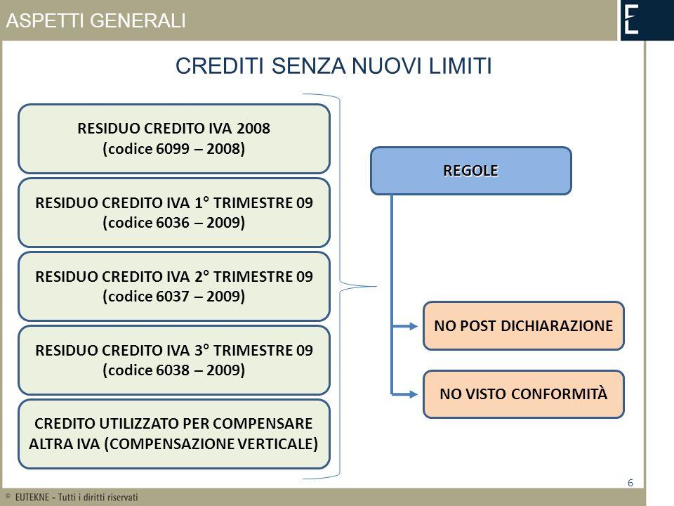 ASPETTI GENERALI CREDITI COMPRESI NEL TETTO 7 REGOLE INVARIATENUOVE REGOLE FINO A 10.000 EURO DI UTILIZZI IN COMPENSAZIONE DI CREDITO IVA ANNUALE 2009 E DI CREDITI IVA TRIMESTRALI 2010 POSSIAMO USARE IMMEDIATAMENTE OLTRE GLI IMPORTI DI 10.000 EURO DOBBIAMO OSSERVARE LE NUOVE REGOLE CREDITO IVA DEL 2009 CREDITI TRIMESTRALI DEL 2010