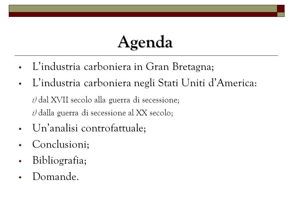 Agenda Lindustria carboniera in Gran Bretagna; Lindustria carboniera negli Stati Uniti dAmerica: i) dal XVII secolo alla guerra di secessione; i) dall