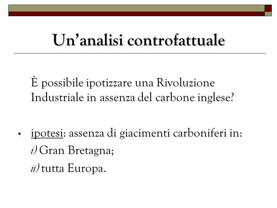 Unanalisi controfattuale È possibile ipotizzare una Rivoluzione Industriale in assenza del carbone inglese? ipotesi: assenza di giacimenti carboniferi