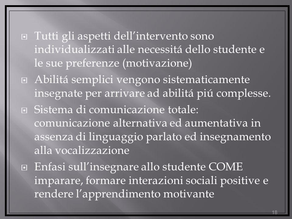 Tutti gli aspetti dellintervento sono individualizzati alle necessitá dello studente e le sue preferenze (motivazione) Abilitá semplici vengono sistematicamente insegnate per arrivare ad abilitá piú complesse.