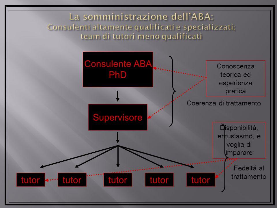 Disponibilitá, entusiasmo, e voglia di imparare Consulente ABA PhD Supervisore tutor Conoscenza teorica ed esperienza pratica Coerenza di trattamento Fedeltá al trattamento