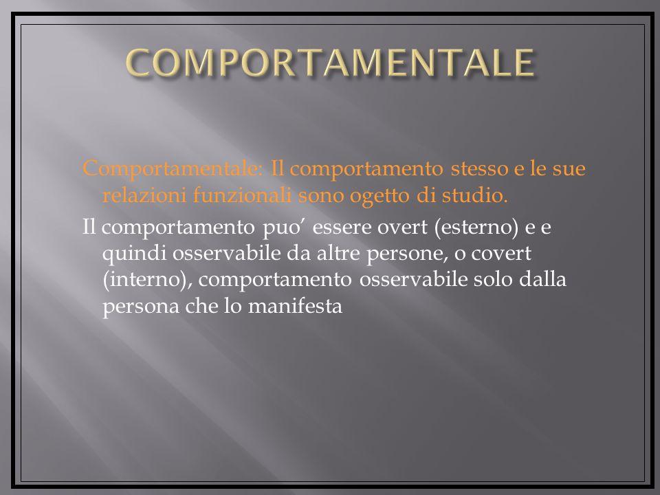 Comportamentale: Il comportamento stesso e le sue relazioni funzionali sono ogetto di studio.