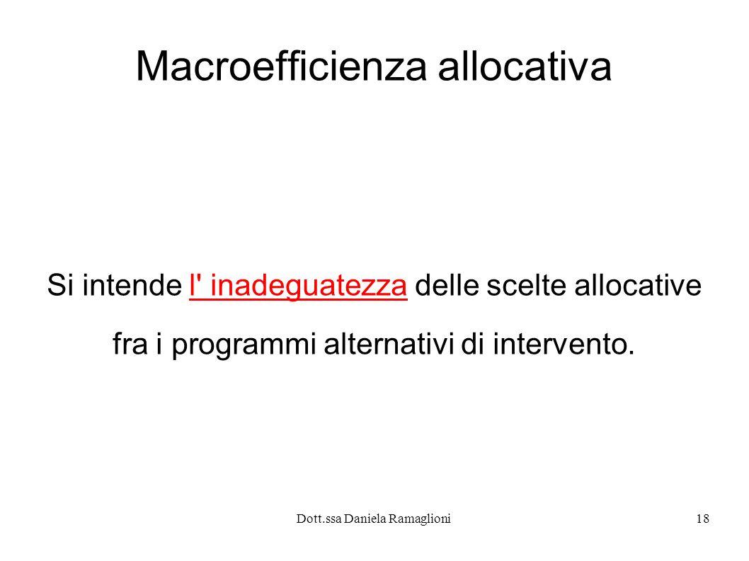 Dott.ssa Daniela Ramaglioni18 Macroefficienza allocativa Si intende l' inadeguatezza delle scelte allocative fra i programmi alternativi di intervento