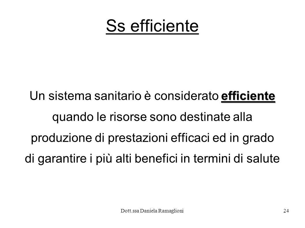 Dott.ssa Daniela Ramaglioni24 Ss efficiente efficiente Un sistema sanitario è considerato efficiente quando le risorse sono destinate alla produzione