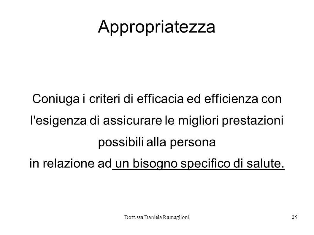 Dott.ssa Daniela Ramaglioni25 Appropriatezza Coniuga i criteri di efficacia ed efficienza con l'esigenza di assicurare le migliori prestazioni possibi
