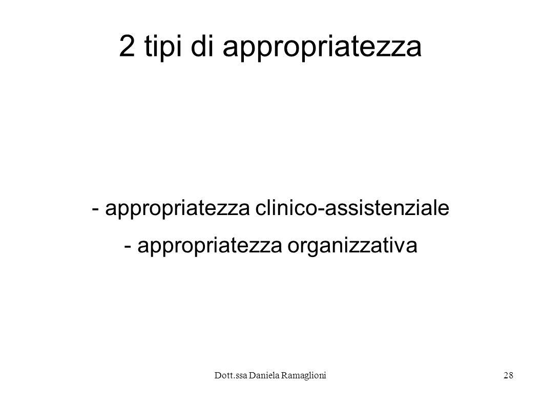 Dott.ssa Daniela Ramaglioni28 2 tipi di appropriatezza - appropriatezza clinico-assistenziale - appropriatezza organizzativa