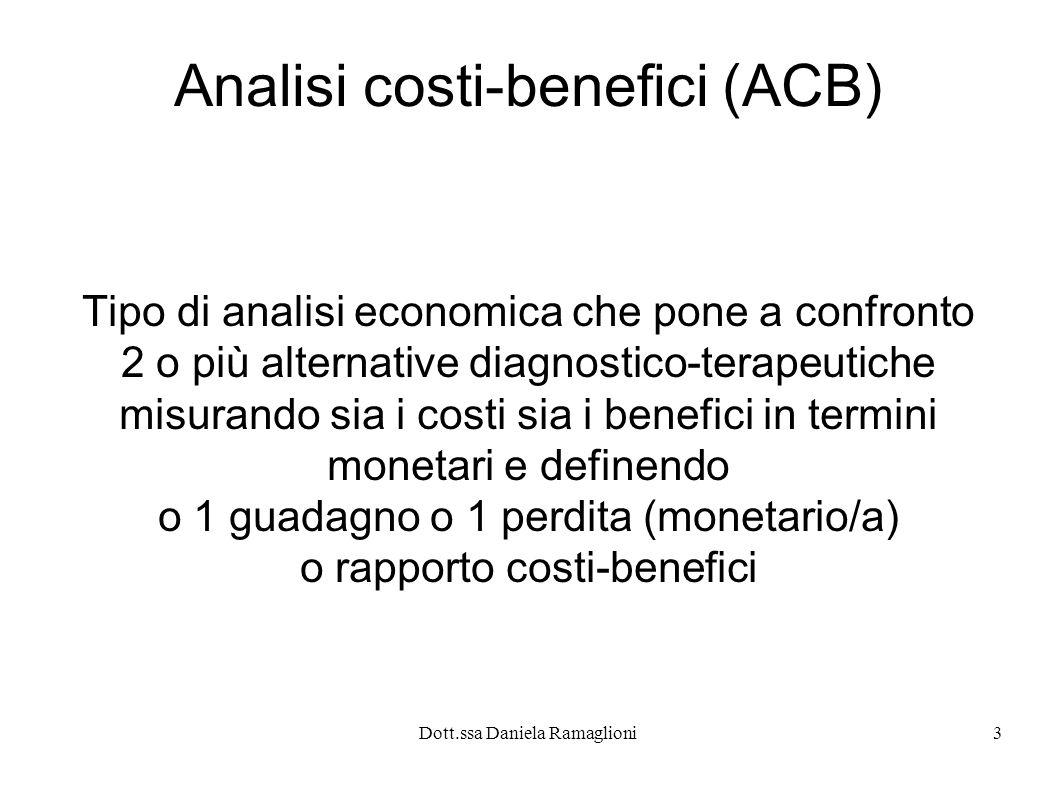 Dott.ssa Daniela Ramaglioni3 Analisi costi-benefici (ACB) Tipo di analisi economica che pone a confronto 2 o più alternative diagnostico-terapeutiche