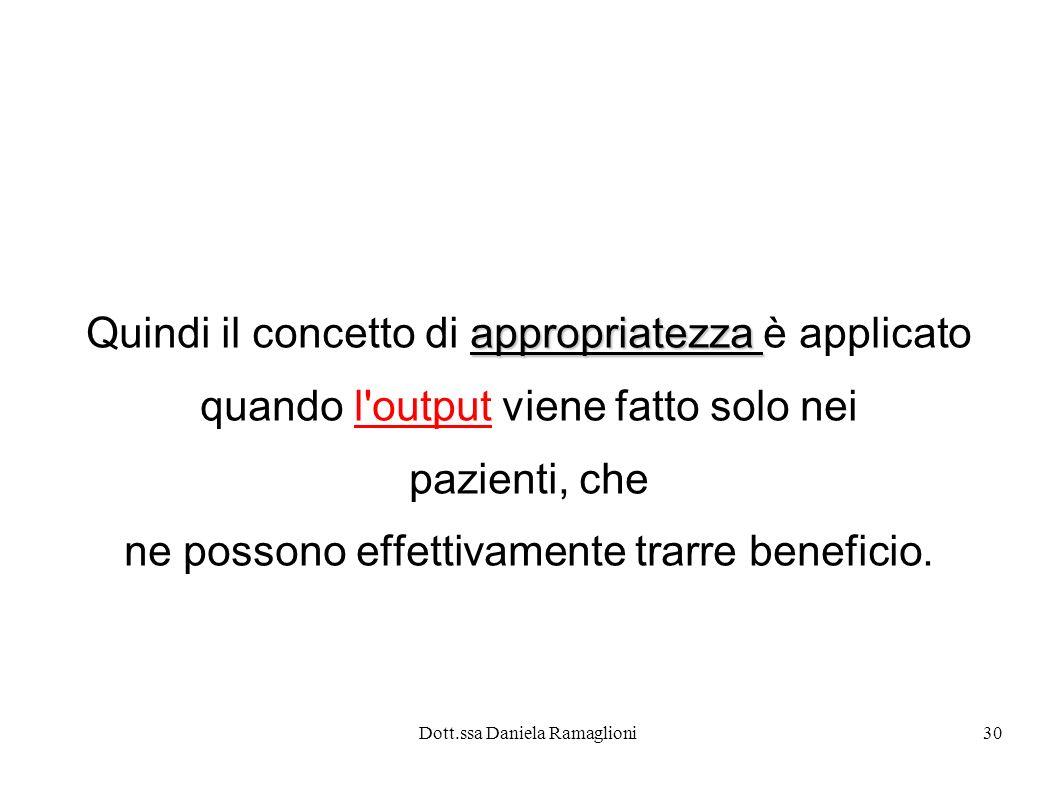 Dott.ssa Daniela Ramaglioni30 appropriatezza Quindi il concetto di appropriatezza è applicato quando l'output viene fatto solo nei pazienti, che ne po