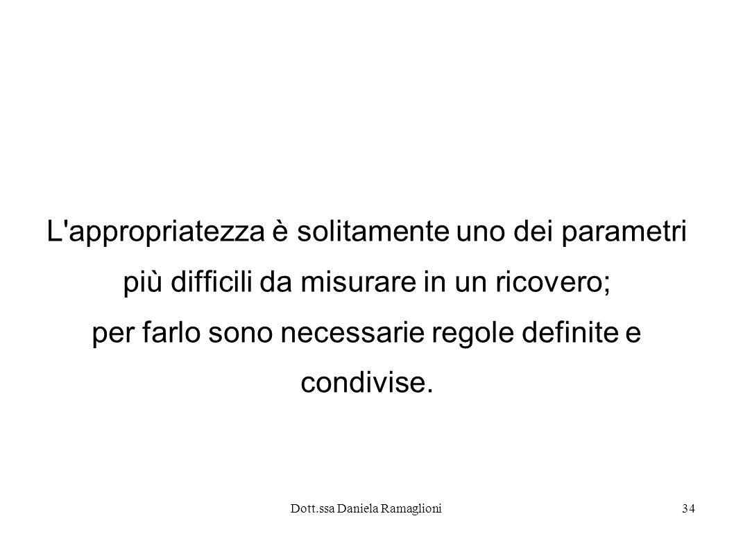 Dott.ssa Daniela Ramaglioni34 L'appropriatezza è solitamente uno dei parametri più difficili da misurare in un ricovero; per farlo sono necessarie reg