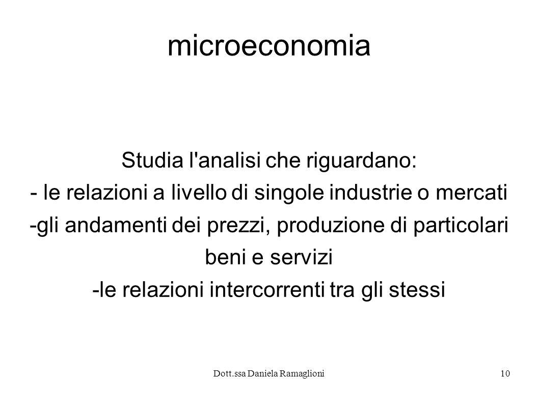 Dott.ssa Daniela Ramaglioni10 microeconomia Studia l'analisi che riguardano: - le relazioni a livello di singole industrie o mercati -gli andamenti de