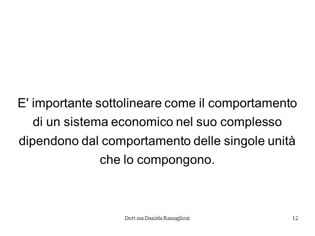 Dott.ssa Daniela Ramaglioni12 E' importante sottolineare come il comportamento di un sistema economico nel suo complesso dipendono dal comportamento d