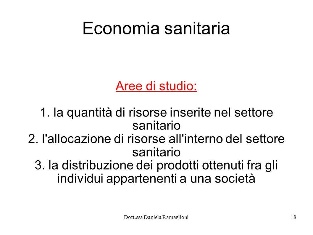 Dott.ssa Daniela Ramaglioni18 Economia sanitaria Aree di studio: 1. la quantità di risorse inserite nel settore sanitario 2. l'allocazione di risorse