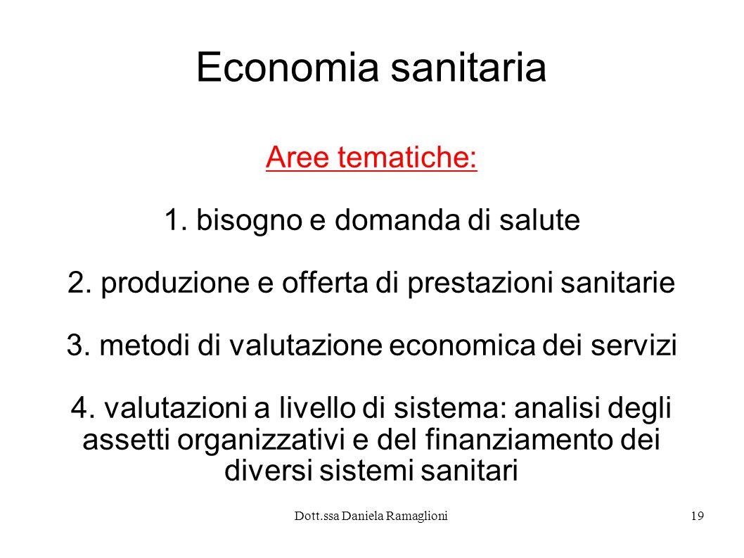 Dott.ssa Daniela Ramaglioni19 Economia sanitaria Aree tematiche: 1. bisogno e domanda di salute 2. produzione e offerta di prestazioni sanitarie 3. me