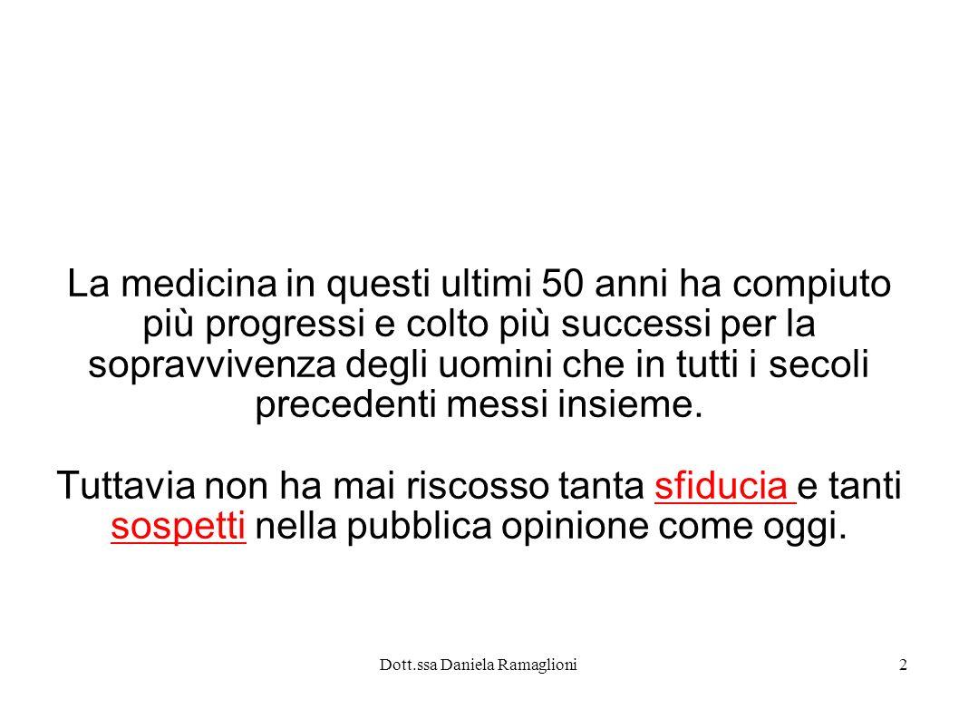 Dott.ssa Daniela Ramaglioni2 La medicina in questi ultimi 50 anni ha compiuto più progressi e colto più successi per la sopravvivenza degli uomini che