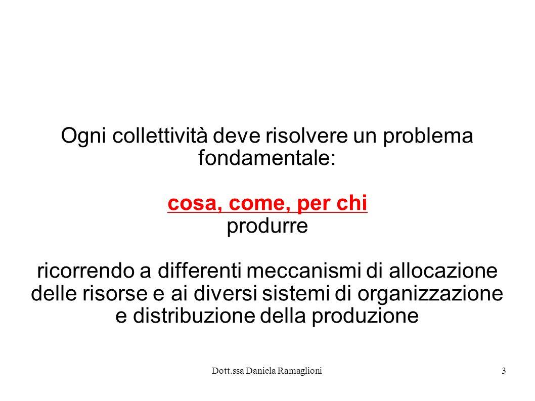 Dott.ssa Daniela Ramaglioni3 Ogni collettività deve risolvere un problema fondamentale: cosa, come, per chi produrre ricorrendo a differenti meccanism