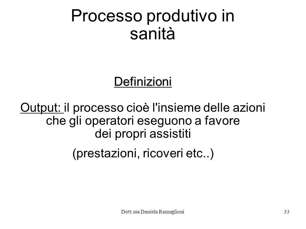 Dott.ssa Daniela Ramaglioni33 Processo produtivo in sanità Definizioni Output: il processo cioè l'insieme delle azioni che gli operatori eseguono a fa