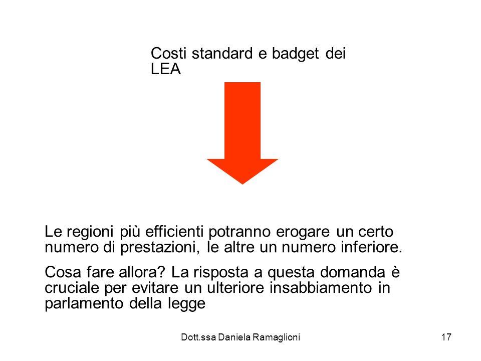 Dott.ssa Daniela Ramaglioni17 Costi standard e badget dei LEA Le regioni più efficienti potranno erogare un certo numero di prestazioni, le altre un n