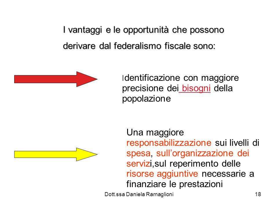 Dott.ssa Daniela Ramaglioni18 I vantaggi e le opportunità che possono derivare dal federalismo fiscale sono: I dentificazione con maggiore precisione