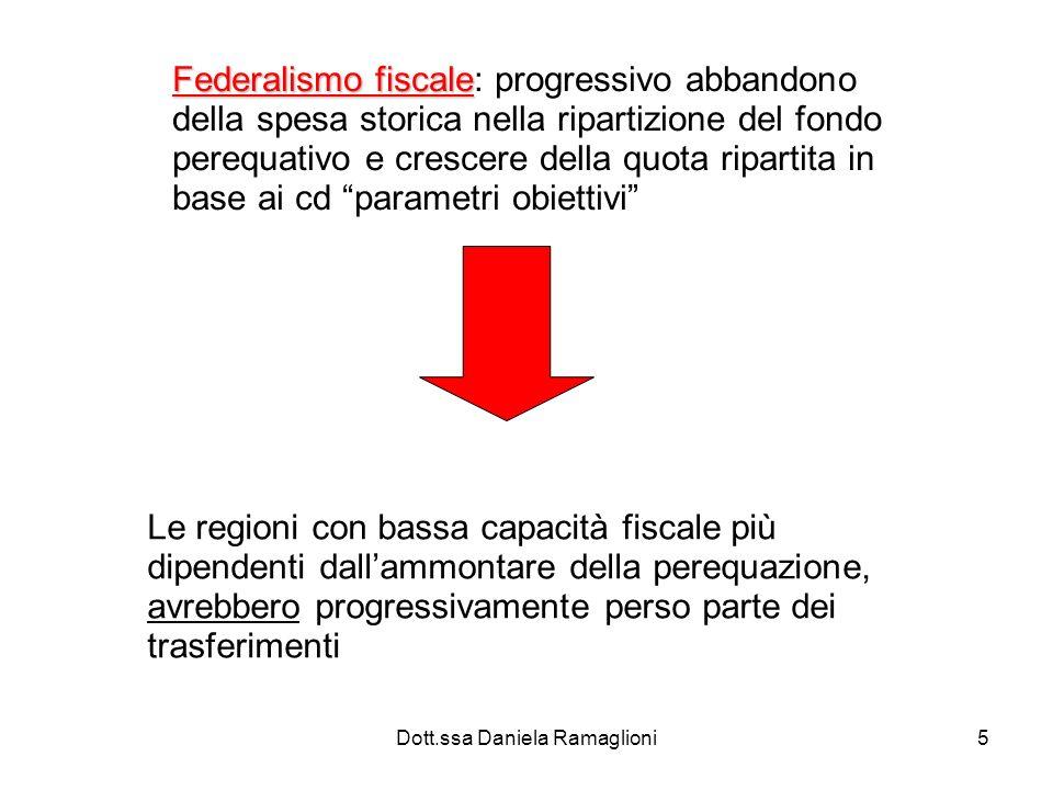 Dott.ssa Daniela Ramaglioni5 Federalismo fiscale Federalismo fiscale: progressivo abbandono della spesa storica nella ripartizione del fondo perequati