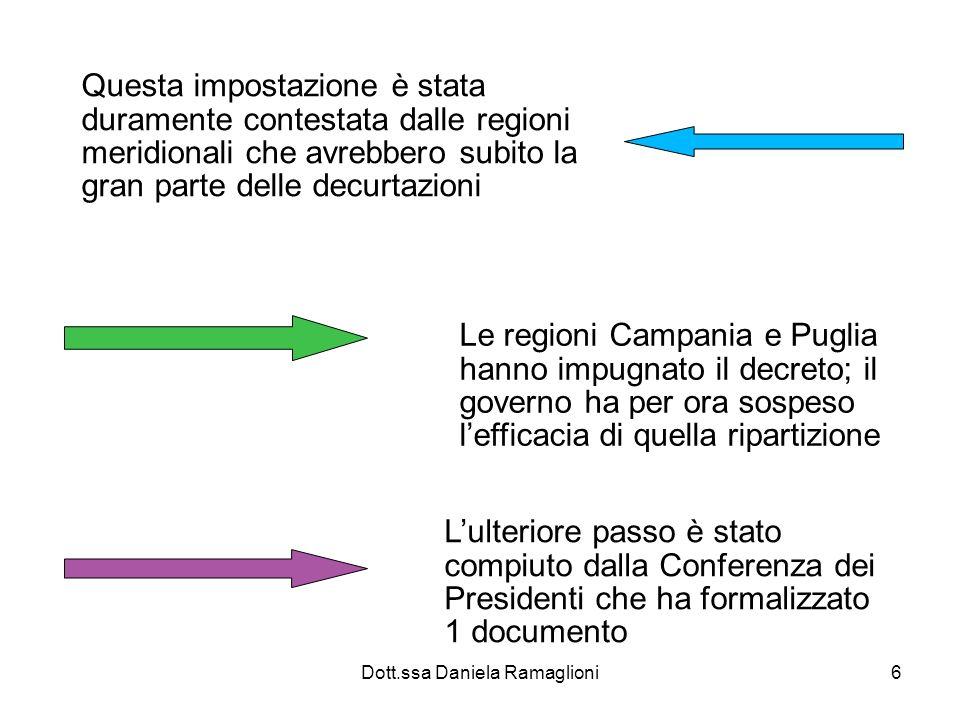 Dott.ssa Daniela Ramaglioni17 Costi standard e badget dei LEA Le regioni più efficienti potranno erogare un certo numero di prestazioni, le altre un numero inferiore.