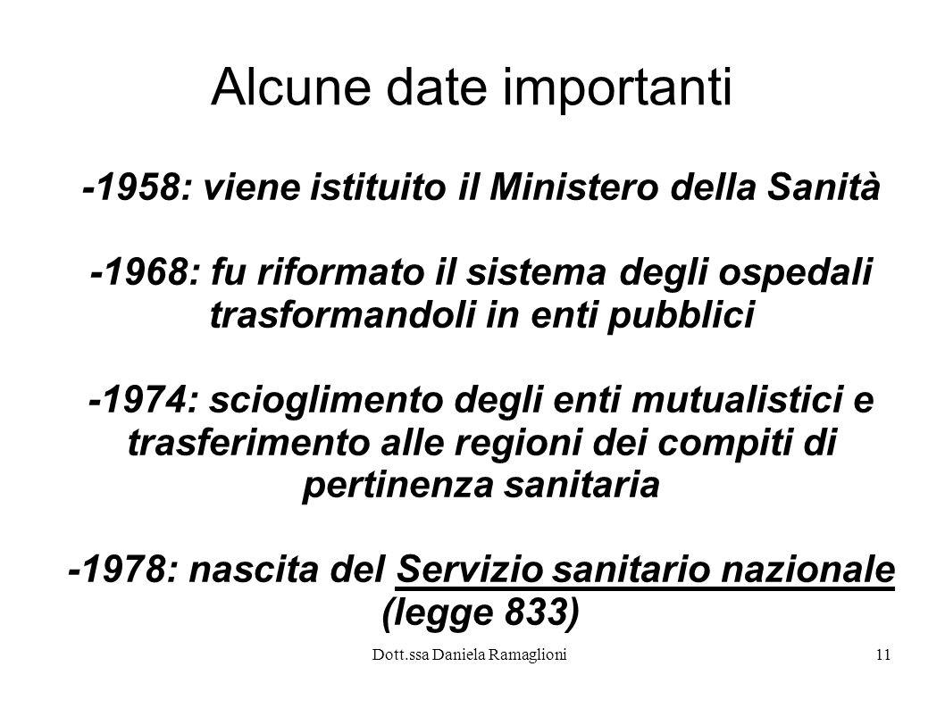 Dott.ssa Daniela Ramaglioni11 Alcune date importanti -1958: viene istituito il Ministero della Sanità -1968: fu riformato il sistema degli ospedali tr