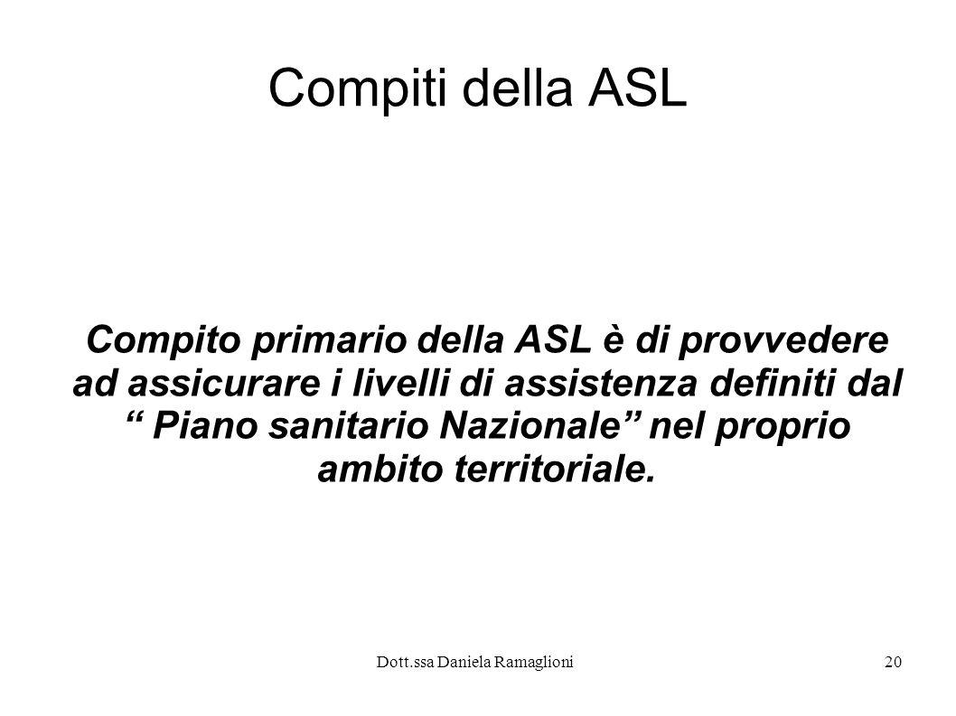 Dott.ssa Daniela Ramaglioni20 Compiti della ASL Compito primario della ASL è di provvedere ad assicurare i livelli di assistenza definiti dal Piano sa
