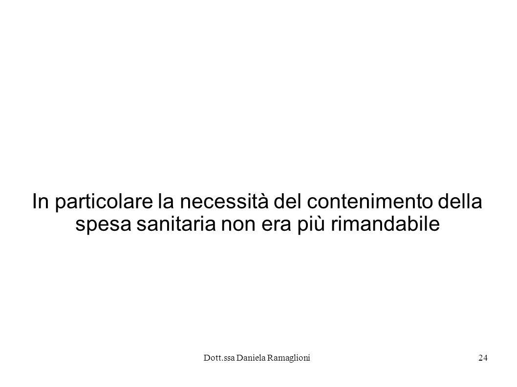 Dott.ssa Daniela Ramaglioni24 In particolare la necessità del contenimento della spesa sanitaria non era più rimandabile