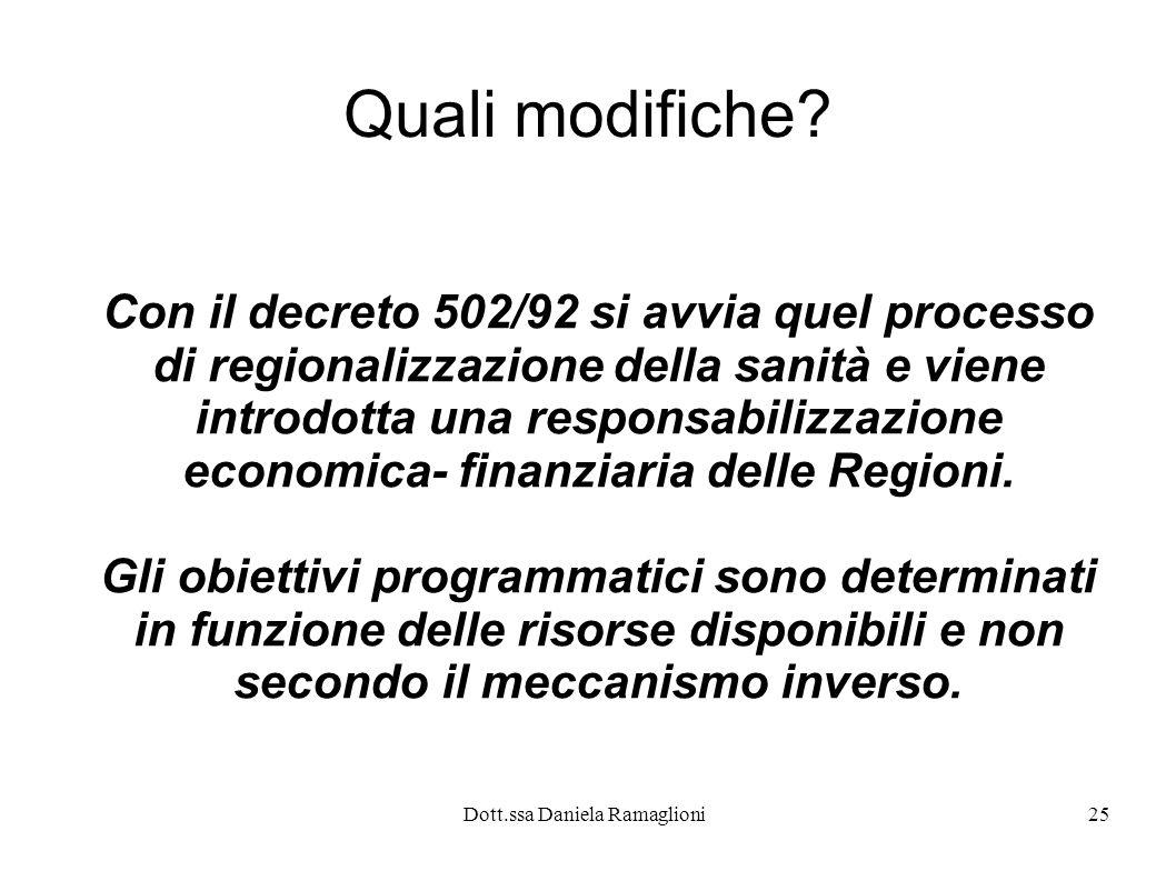 Dott.ssa Daniela Ramaglioni25 Quali modifiche? Con il decreto 502/92 si avvia quel processo di regionalizzazione della sanità e viene introdotta una r