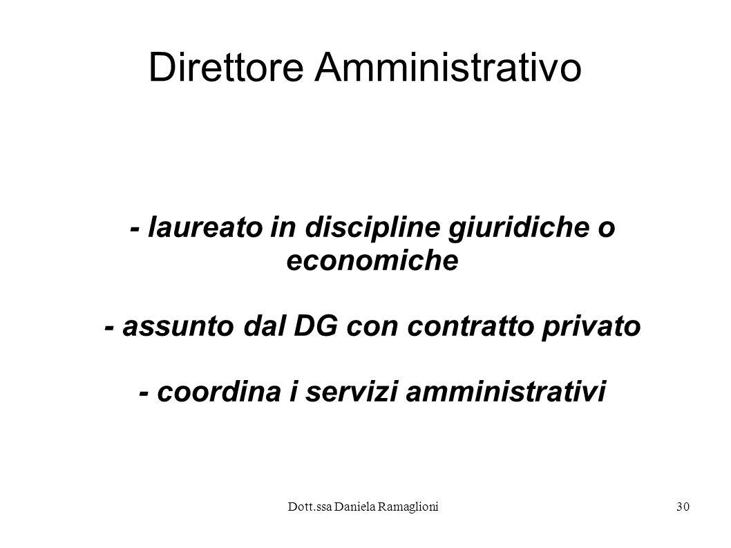 Dott.ssa Daniela Ramaglioni30 Direttore Amministrativo - laureato in discipline giuridiche o economiche - assunto dal DG con contratto privato - coord