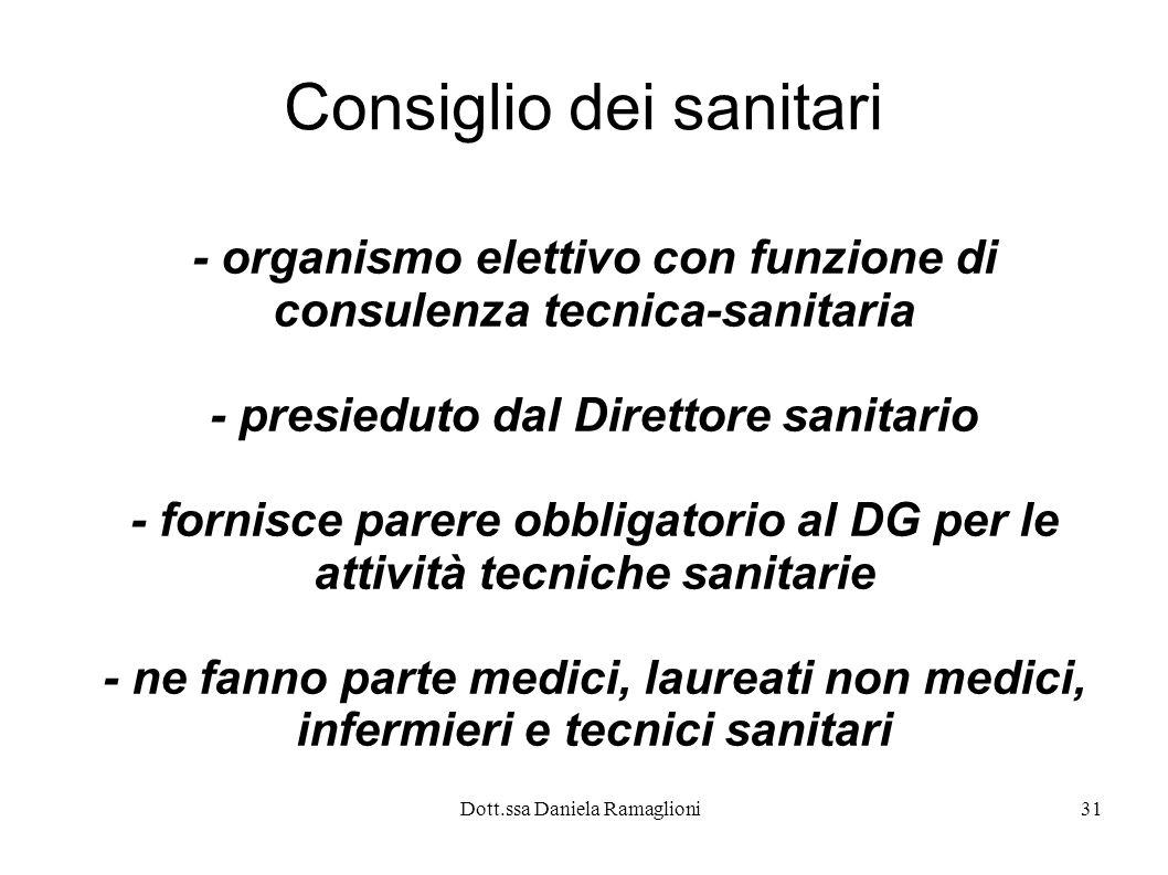 Dott.ssa Daniela Ramaglioni31 Consiglio dei sanitari - organismo elettivo con funzione di consulenza tecnica-sanitaria - presieduto dal Direttore sani