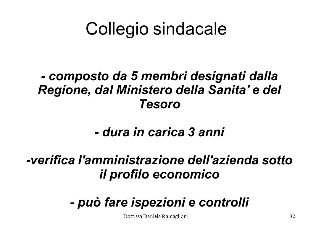 Dott.ssa Daniela Ramaglioni32 Collegio sindacale - composto da 5 membri designati dalla Regione, dal Ministero della Sanita' e del Tesoro - dura in ca