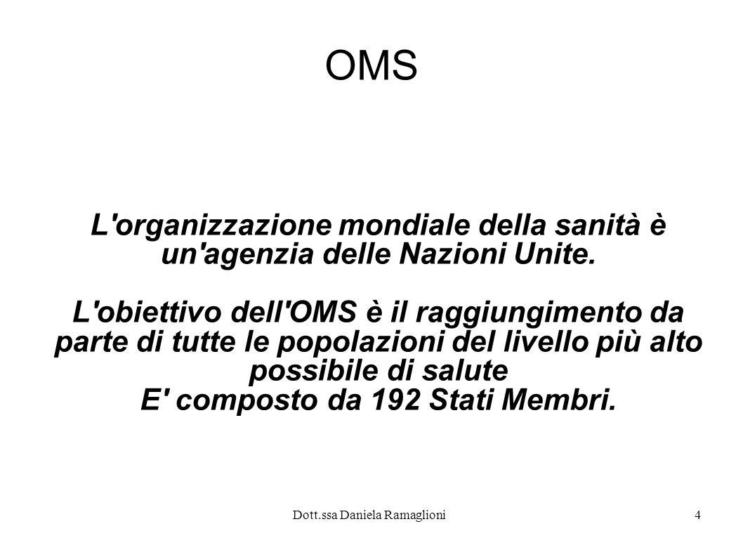 Dott.ssa Daniela Ramaglioni4 OMS L'organizzazione mondiale della sanità è un'agenzia delle Nazioni Unite. L'obiettivo dell'OMS è il raggiungimento da