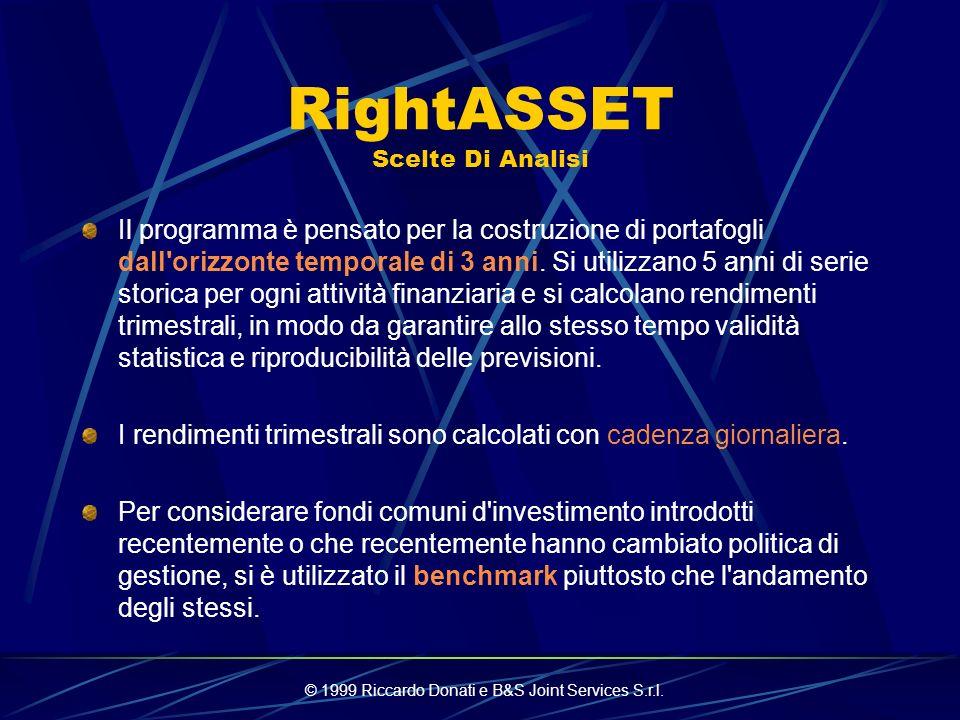 © 1999 Riccardo Donati e B&S Joint Services S.r.l. RightASSET Overview Correlazione Storica Previsioni: Rendimenti medi / shock / overperformance Otti