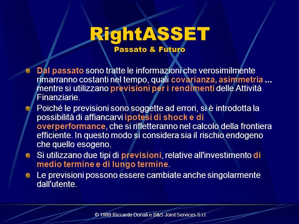 © 1999 Riccardo Donati e B&S Joint Services S.r.l. RightASSET Scelte Di Analisi Il programma è pensato per la costruzione di portafogli dall'orizzonte