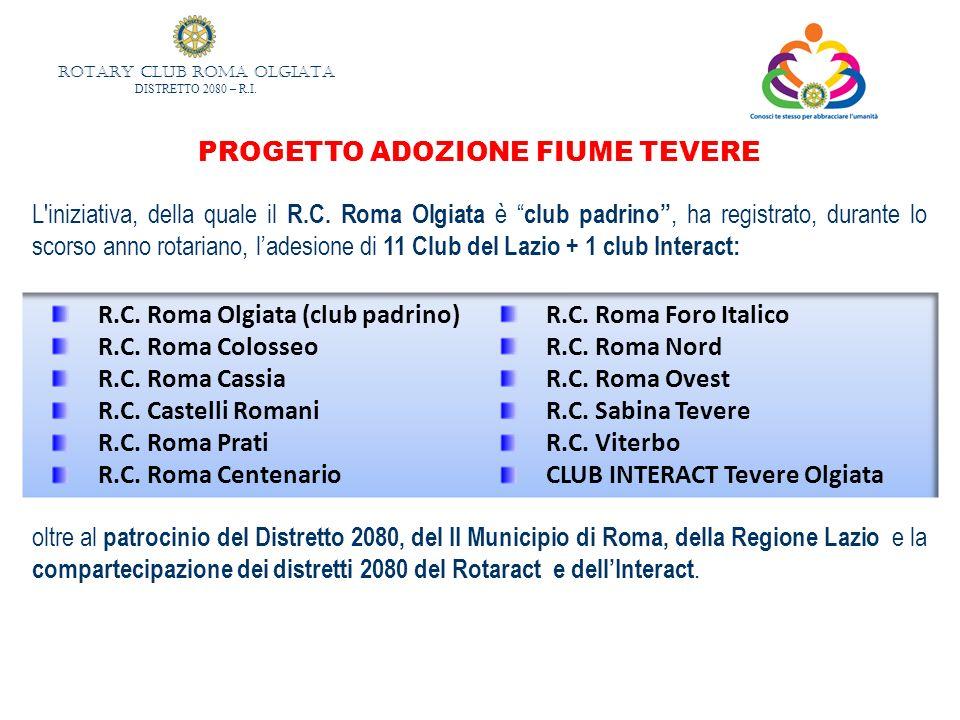 ROTARY CLUB ROMA OLGIATA DISTRETTO 2080 – R.I. PROGETTO ADOZIONE FIUME TEVERE L'iniziativa, della quale il R.C. Roma Olgiata è club padrino, ha regist
