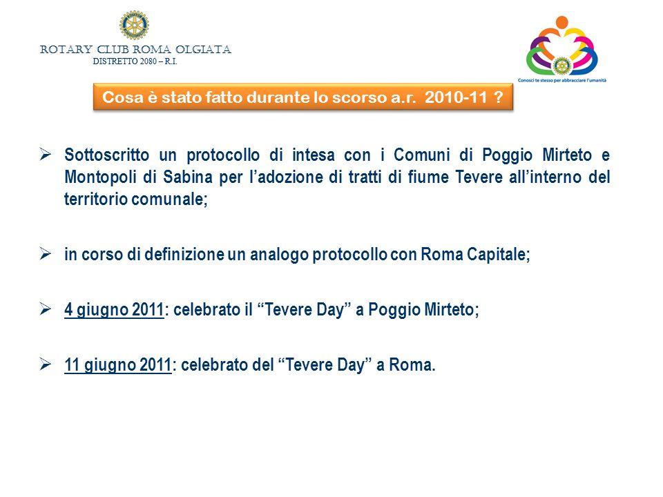 ROTARY CLUB ROMA OLGIATA DISTRETTO 2080 – R.I. ROTARY CLUB ROMA OLGIATA DISTRETTO 2080 – R.I. Cosa è stato fatto durante lo scorso a.r. 2010-11 ? Sott
