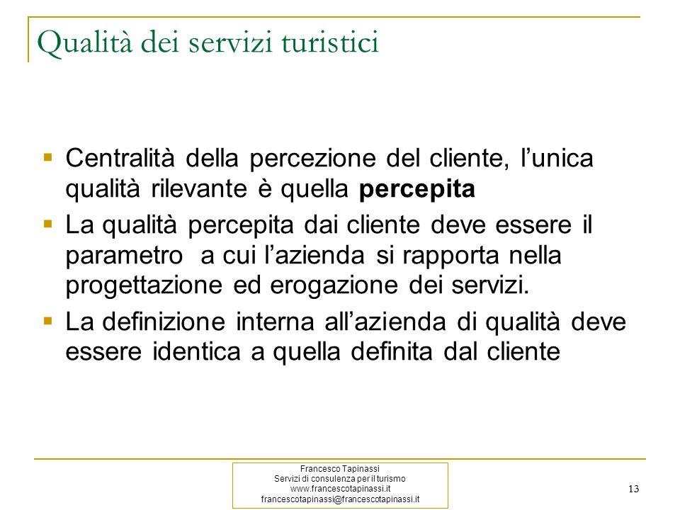 13 Qualità dei servizi turistici Centralità della percezione del cliente, lunica qualità rilevante è quella percepita La qualità percepita dai cliente