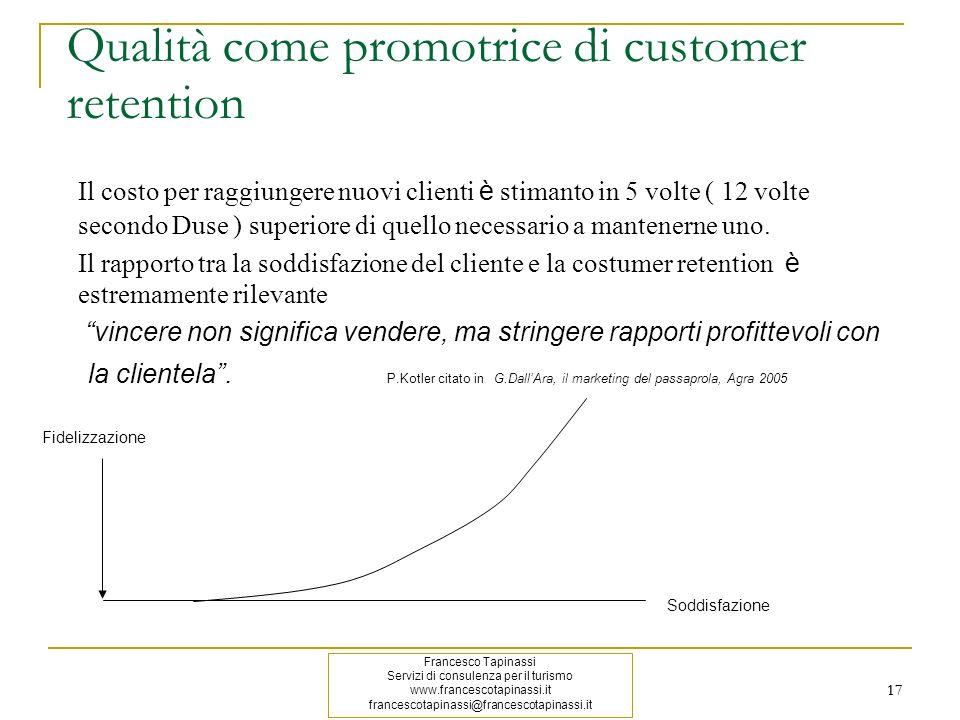 17 Qualità come promotrice di customer retention Il costo per raggiungere nuovi clienti è stimanto in 5 volte ( 12 volte secondo Duse ) superiore di q