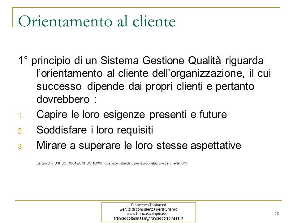 20 Orientamento al cliente 1° principio di un Sistema Gestione Qualità riguarda lorientamento al cliente dellorganizzazione, il cui successo dipende d