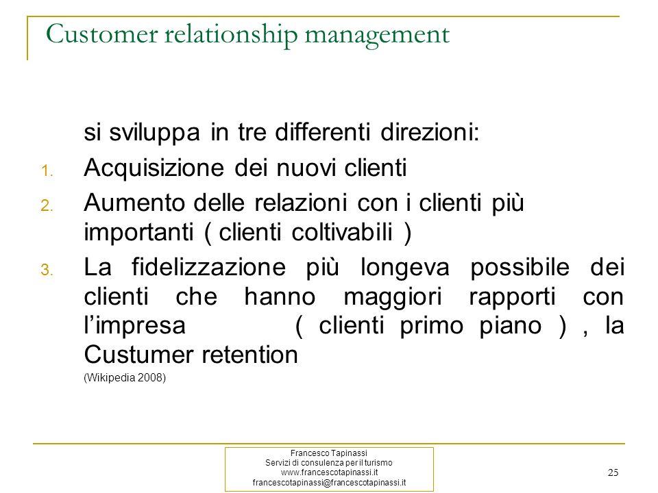 25 Customer relationship management si sviluppa in tre differenti direzioni: 1. Acquisizione dei nuovi clienti 2. Aumento delle relazioni con i client
