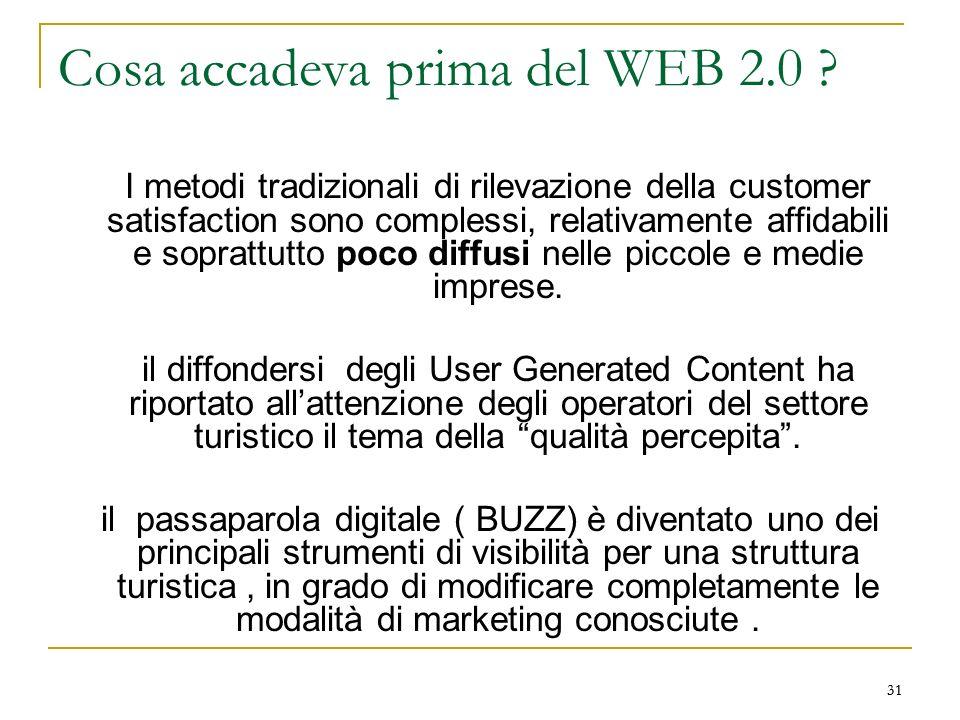 31 Cosa accadeva prima del WEB 2.0 ? I metodi tradizionali di rilevazione della customer satisfaction sono complessi, relativamente affidabili e sopra