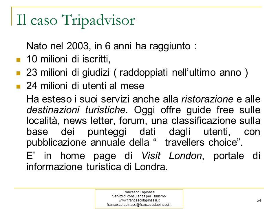 54 Il caso Tripadvisor Nato nel 2003, in 6 anni ha raggiunto : 10 milioni di iscritti, 23 milioni di giudizi ( raddoppiati nellultimo anno ) 24 milion