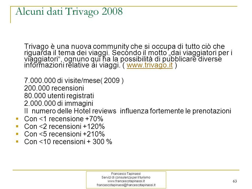 63 Alcuni dati Trivago 2008 Trivago è una nuova community che si occupa di tutto ciò che riguarda il tema dei viaggi. Secondo il motto dai viaggiatori