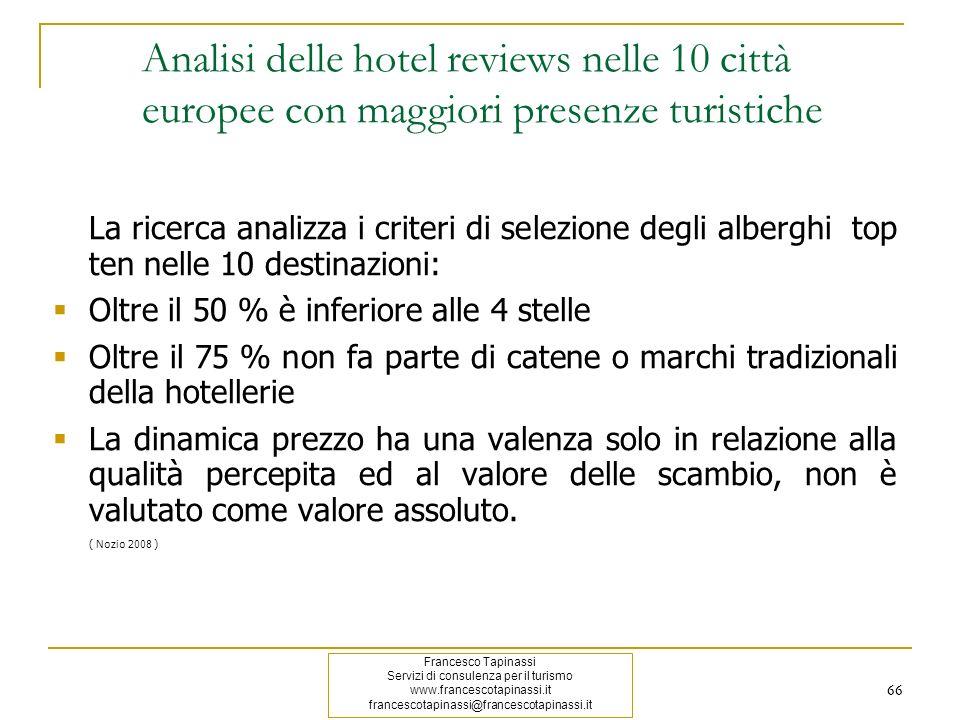 66 La ricerca analizza i criteri di selezione degli alberghi top ten nelle 10 destinazioni: Oltre il 50 % è inferiore alle 4 stelle Oltre il 75 % non